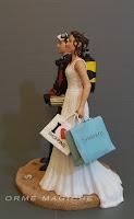 sposini torta nuzziale topper sposa borse firmate moda orme magiche