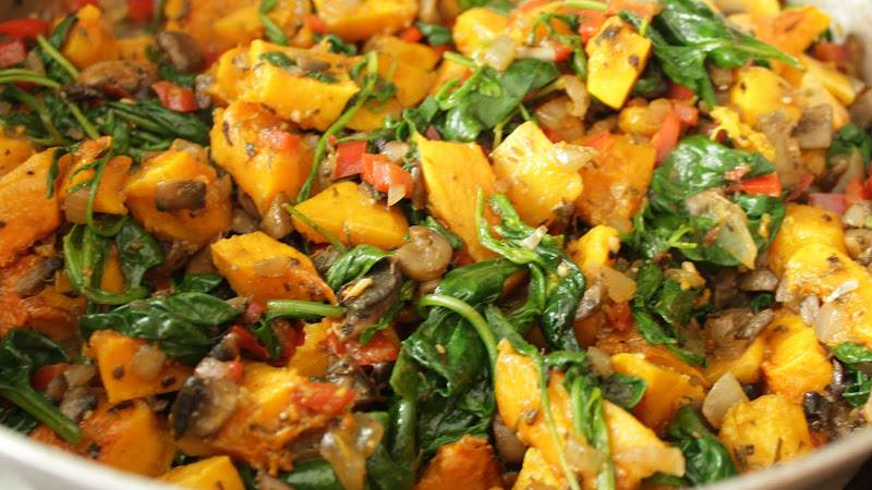 Something for the veg head bookworms (Vegetarian butternut squash, greens and goat cheese breakfast casserole)