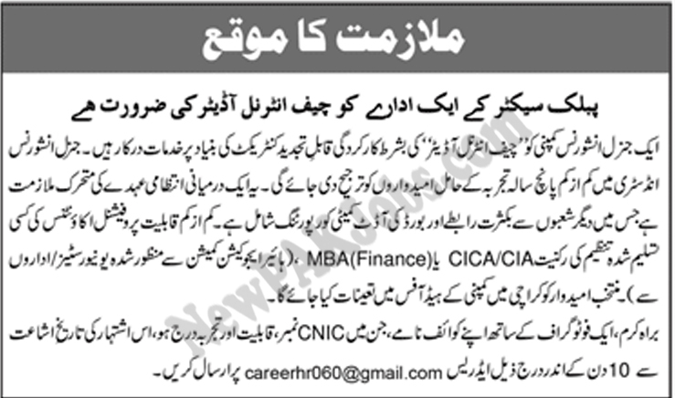 Jobs in Chief Internal Auditor in Public Sector Organization