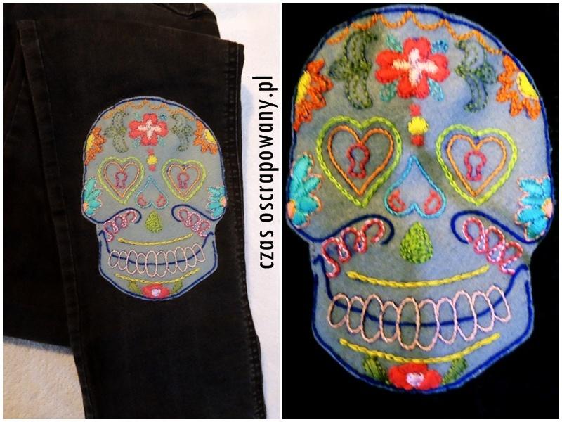 naszywka z czaszką, czaszka w kwiatach