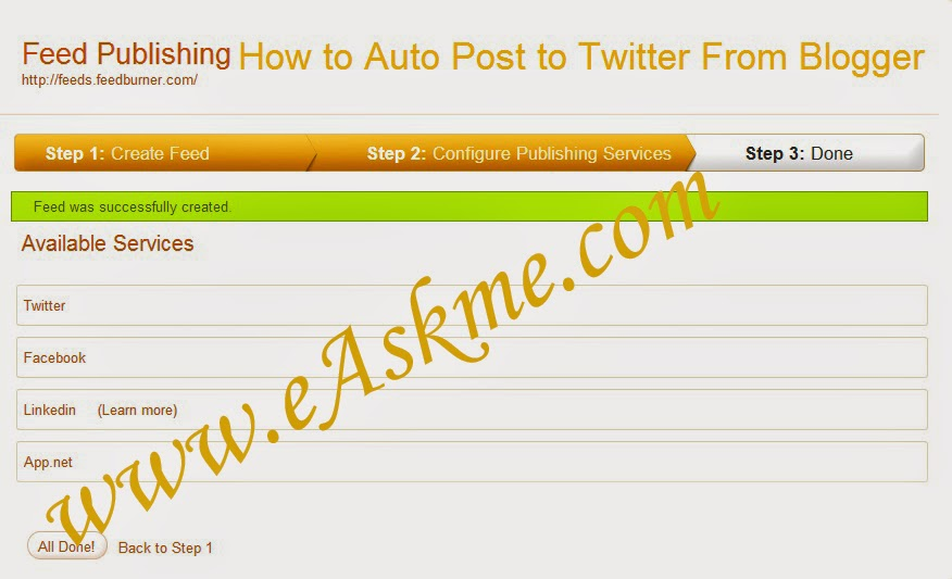 How to Auto Post to Twitter From Blogger : eAskme