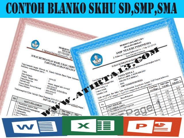 Download Contoh Blanko SKHU Sementara SD,SMP,SMA Format Excel dan Words