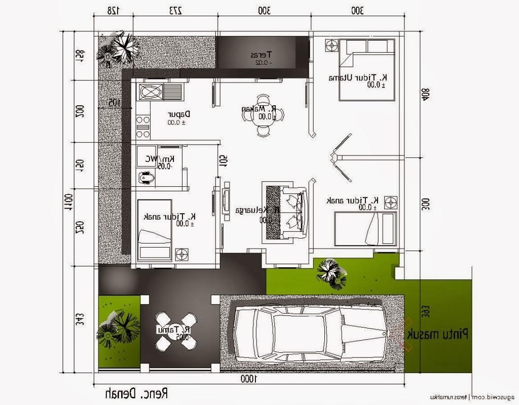 denah rumah ukuran 6x10 minimalis satulantai 2