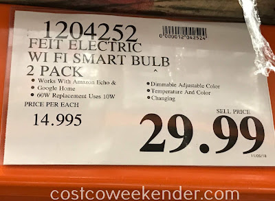 Deal for a 2 pack of Feit Electric 60w WiFi Smart Bulbs at Costco