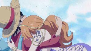 Anime Hug: One Piece - Nami hugs Luffy