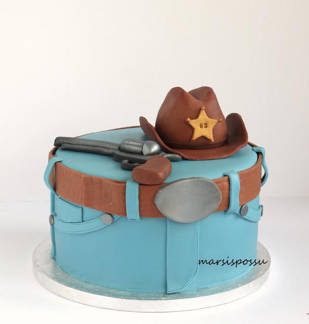 Villi länsi -aiheinen kakku