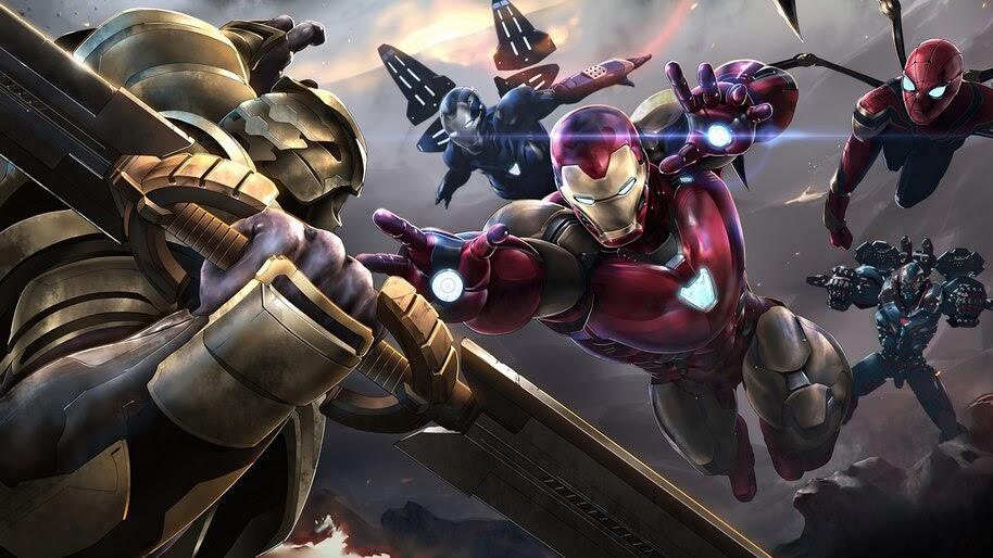 Thanos vs. Avengers, Iron Man, Spider-Man, 4K, #3.2342