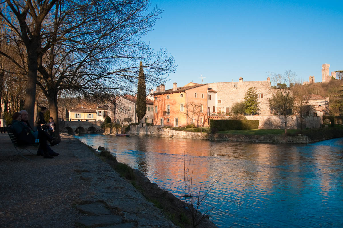 Early evening on the river Mincio, Borghetto, Veneto, Italy