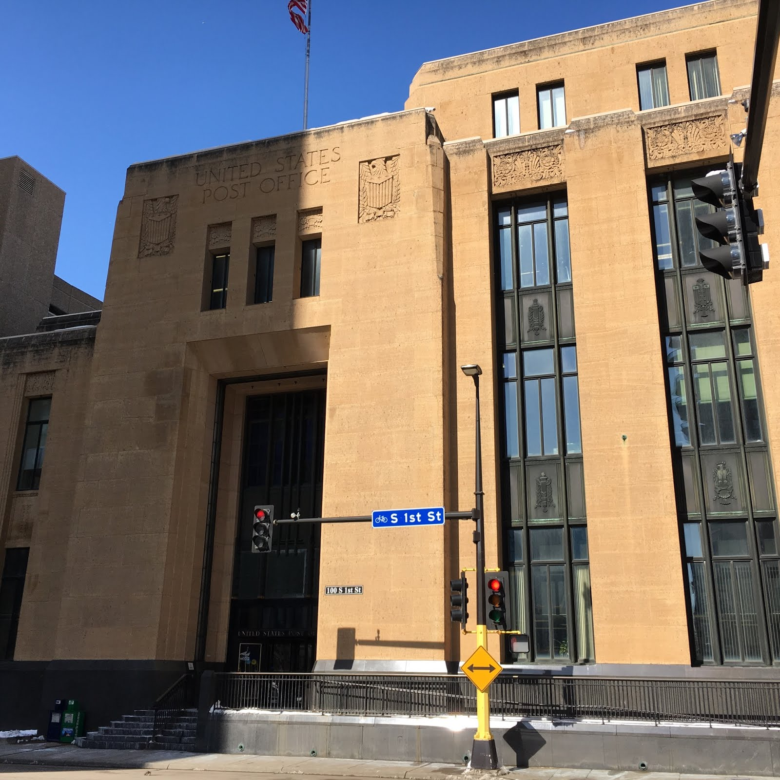 The main western public entrance to the Minneapolis Post Office