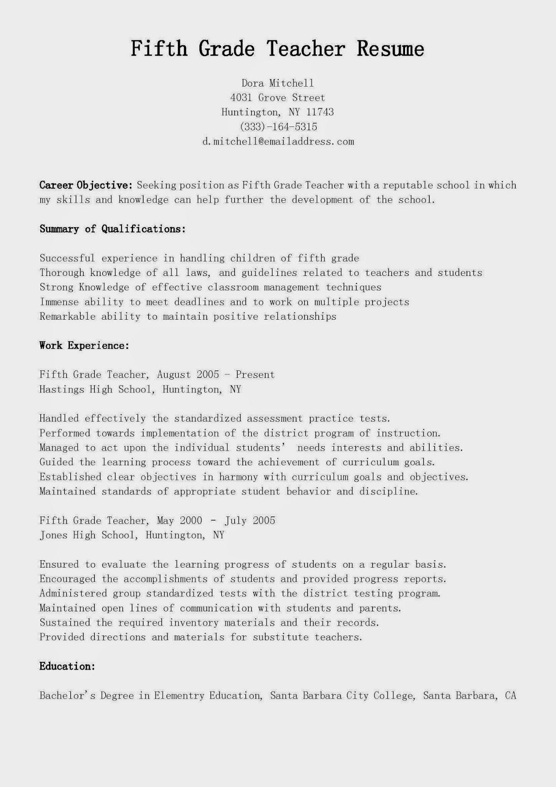 resume samples fifth grade teacher resume sample