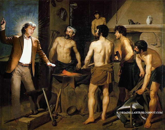 Alberto Angela nella fucina di Vulcano-Velazquez-Fotomontaggi di dipinti classici