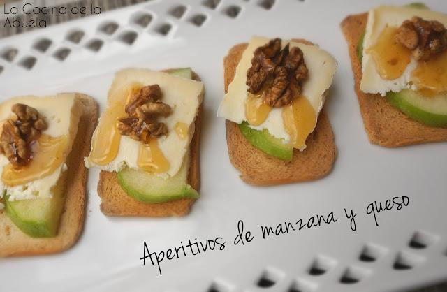 Aperitivo de manzana queso y nueces