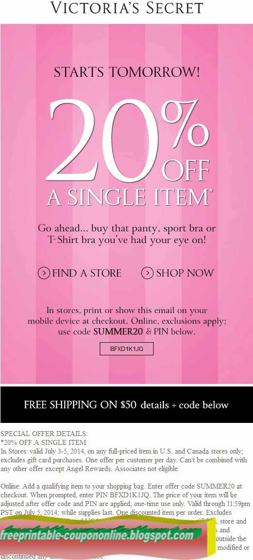 Free printable coupons for victoria's secret