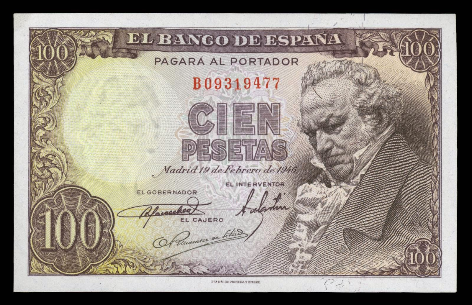 Spain banknotes 100 Pesetas note 1946 Francisco Goya