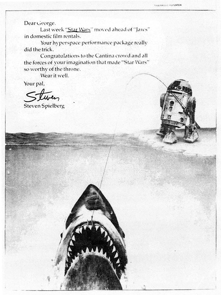 Steven Spielberg congratulating George Lucas for Star Wars moving ahead of Jaws in domestic film rentals