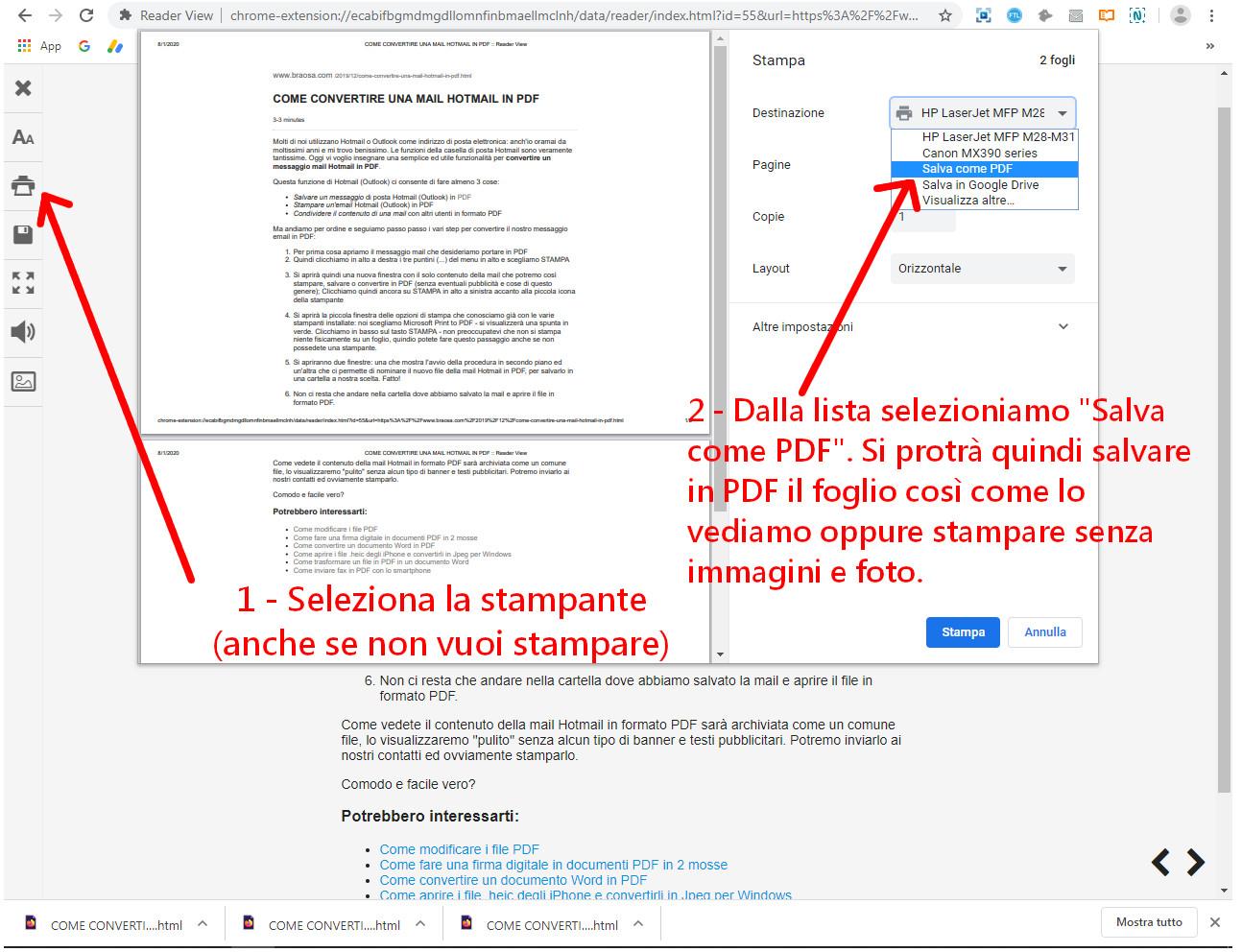 Esportare la pagina di un sito web in PDF oppure salvare