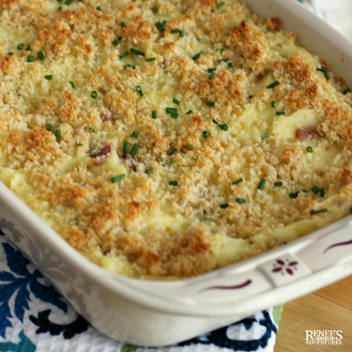 Loaded Mashed Potato Casserole baked in casserole dish