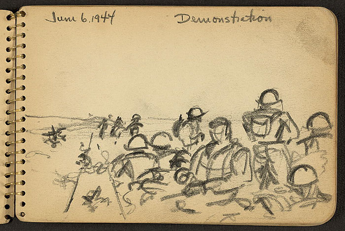 21-Year-Old WWII Soldier's Sketchbooks Show War Through The Eyes Of An Architect - Soldiers In The Field While Stationed At Fort Jackson, South Carolina