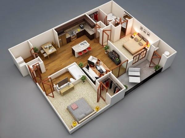 Minimalist Open Floor 2 Bedroom Apartment Design | Homesigner