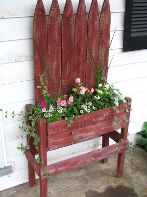 Planter made from a section of picket fence by The Old Park Homestead