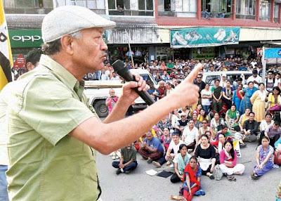 JAP president Harka Bahadur Chhetri addresses a rally in Kalimpong