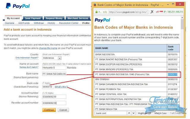 mengisi identitas bank lokal anda untuk mencairkan saldo paypal ke rekening bank lokal