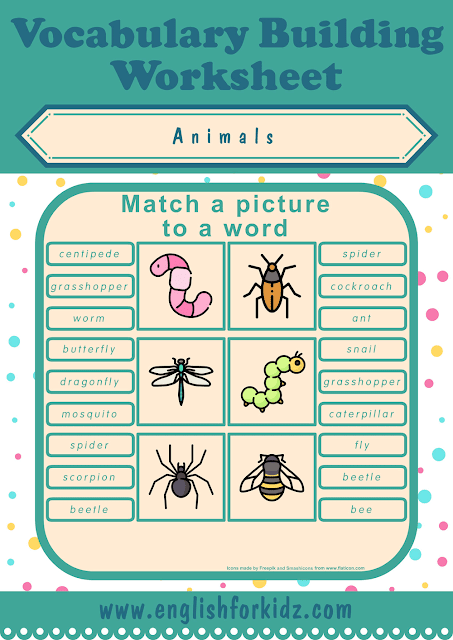 Insects worksheet - picture to word matching - free ESL printables