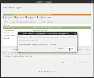 LinuxMint19tara partition warning
