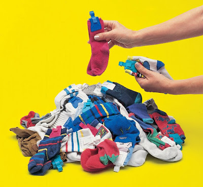 pairs of socks, clipped together