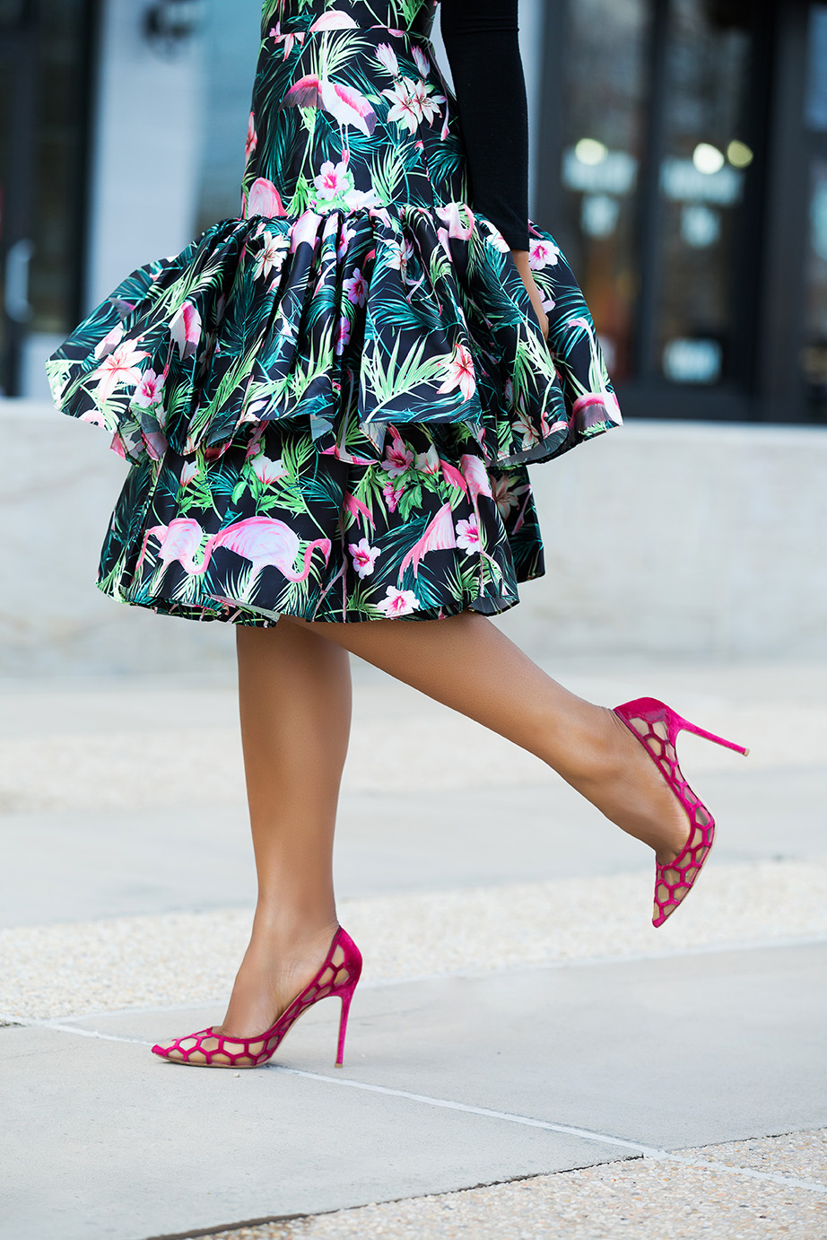 asos flamingo high-waist ruffle hem skirt, aquazzura pump, www.jadore-fashion.com