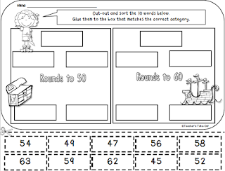 Pirate Cut and Paste Rounding Worksheet