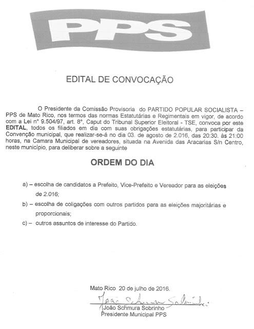 Mato Rico: PPS publica edital da sua Convenção Municipal
