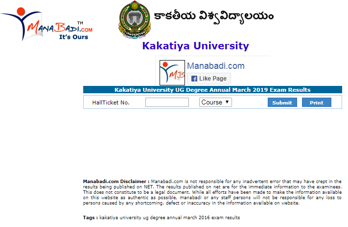 Sri Venkateswara University Degree Results