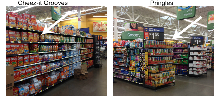 Where to find Cheez-its and pringles at Walmart