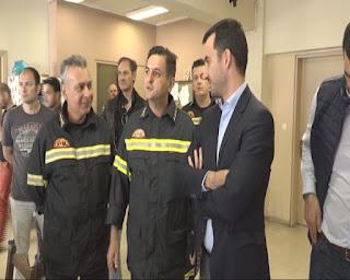 Υποδομές και…εξοπλισμός στην επίσκεψη Χαρίτση στην Πυροσβεστική