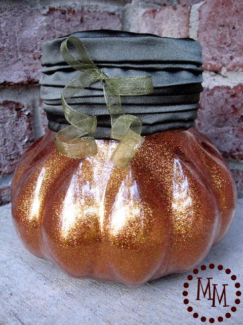 finished glittered pumpkins