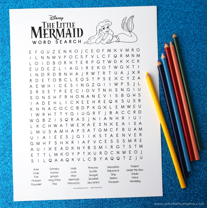 Free Printable Little Mermaid Coloring Word Search