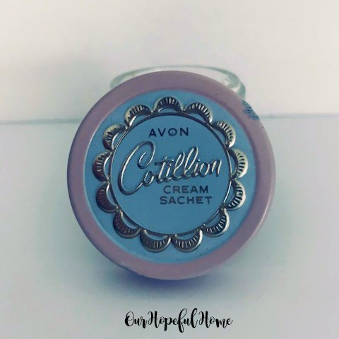 Vintage Avon Cotillion Cream Sachet empty frosted glass jar blue pink gold lid