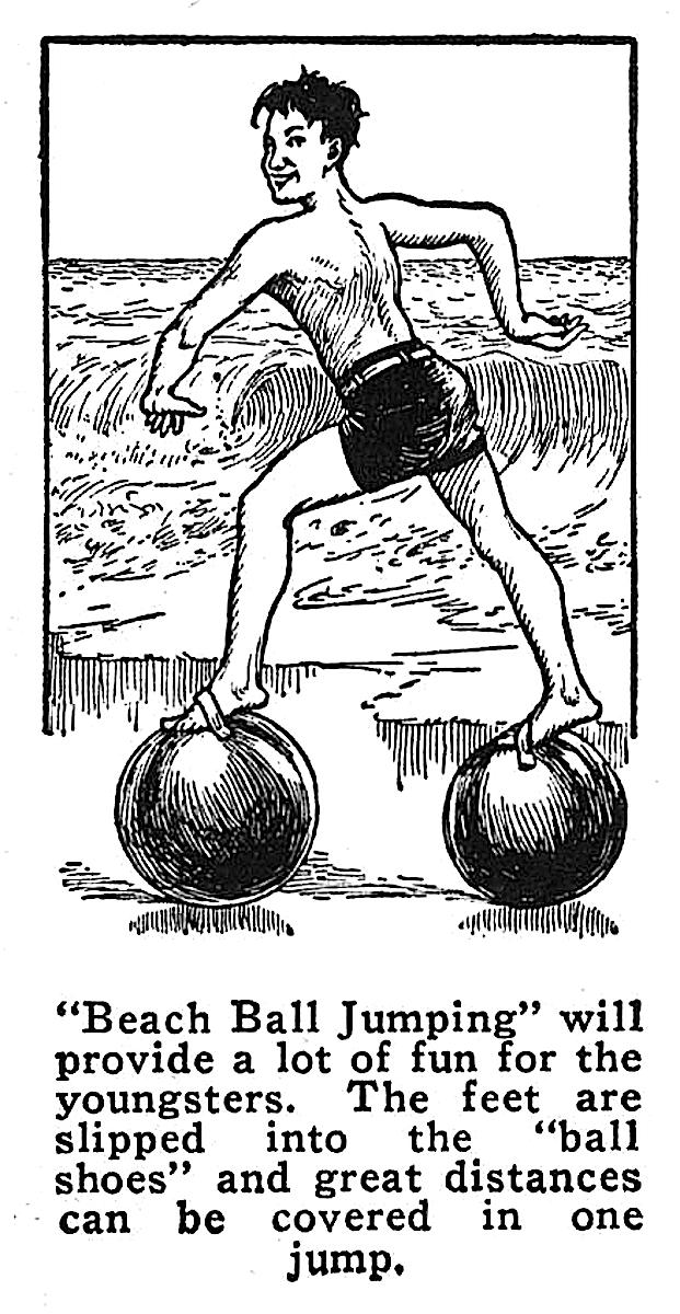 1937 Beach Ball Jumping, an advertisement for balls with foot straps