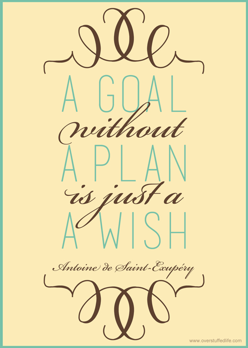 "Free printable: ""A Goal Without a Plan is Just a Wish"""