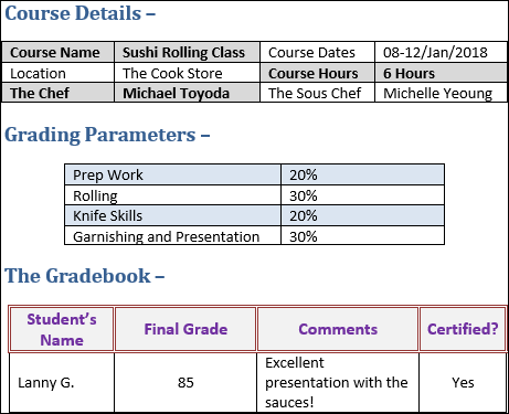 Gradebook Template Word