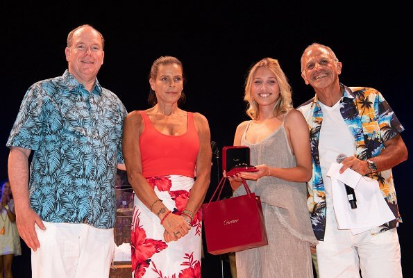 Princess Stephanie,Camille Gottlieb, Louis Ducruet and his fiancee Marie Chevallier. summer dress, floral skirt and shirt