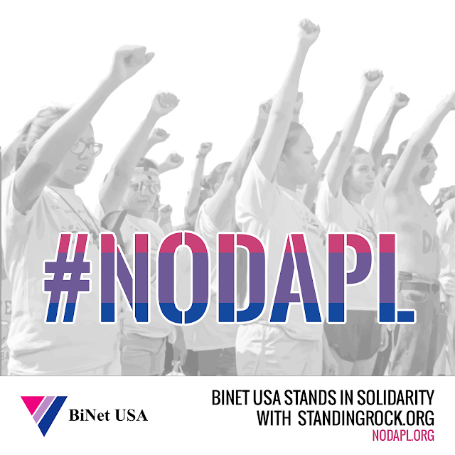 Caption: Image of native people protecting water with #bipride flag colors and BiNet USA logo alongside words that say BINET USA STANDS IN SOLIDARITY WITH STANDINGROCK.ORG / NODAPL.ORG. Photo Credit: Deborah Atwater/BiNet USA