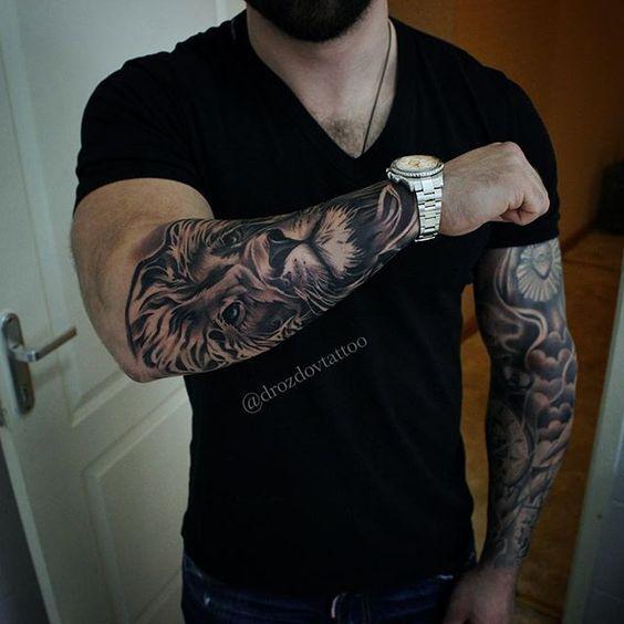 Leo Lion Tattoo Designs On Forearm For Men