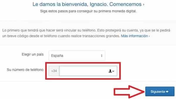 verificar numero telefónico nuevo usuario coinbase