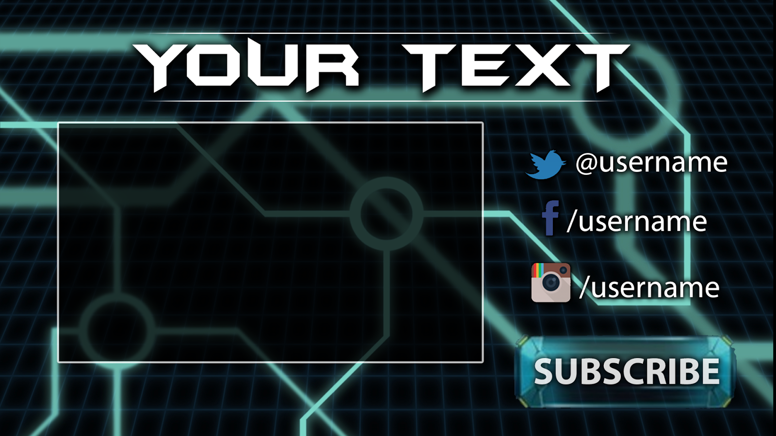 Tron gaming youtube outro template free download outro for Blank outro template