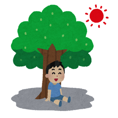 木陰で休んでいる子供のイラスト