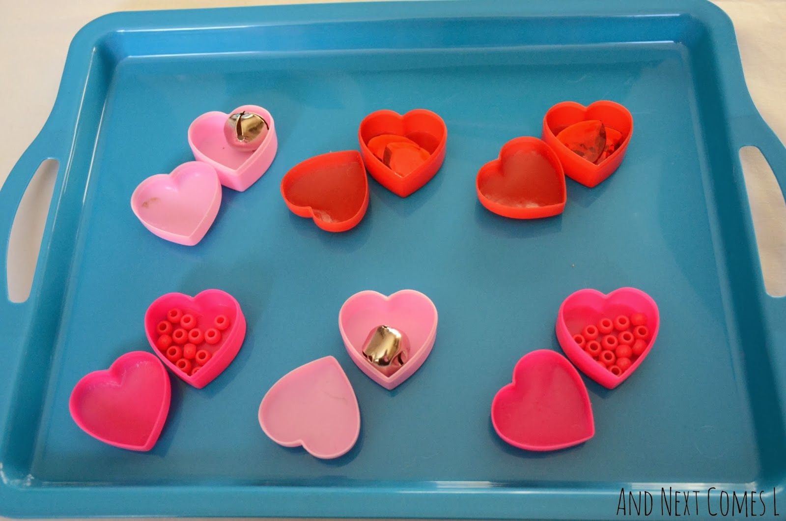 Inside of the Montessori inspired sound matching hearts for Valentine's Day from And Next Comes L