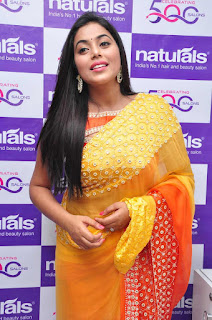 Poorna in cute Orange Yellow Saree at Naturals Beauty Salon Launch WOW cute beauty