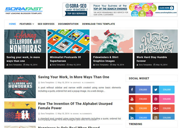 Download Sora Fast Blogger Template